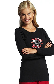 Clearance White Cross Women's Long Sleeve Round Neck Black Graphic Print Underscrub