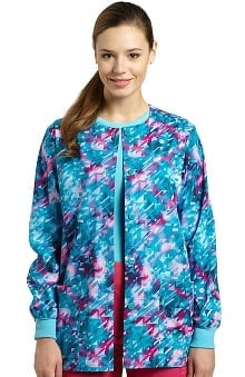 White Cross Women's Abstract Print Warm Up Scrub Jacket