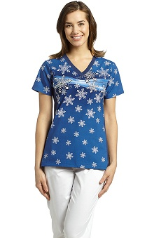 firefighter print: White Cross Women's Sport V-Neck Print Scrub Top