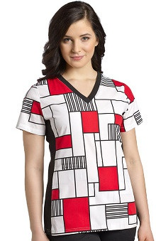 Clearance White Cross Women's Sport V-Neck Geometric Print Scrub Top