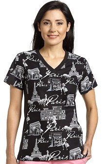 White Cross Women's Sport V-Neck Paris Print Scrub Top