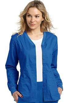 Allure by White Cross Women's Button Front Cardigan Warm Up Scrub Jacket