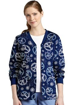 holiday: White Cross Women's Button Front Cardigan Winter Print Warm Up
