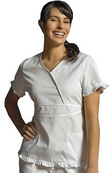 White Cross Women's Contrast Ruffle Mock Wrap Solid Scrub Top