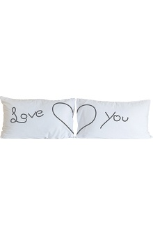 White Cross Love You Pillow Case 2 Pack