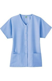 Clearance Fundamentals by White Swan Women's Snap Front Solid Scrub Top