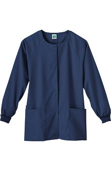 Clearance Fundamentals by White Swan Women's Snap Front Warm Up Solid Scrub Jacket