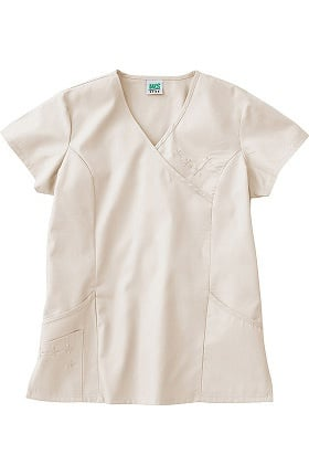 Clearance Fundamentals by White Swan Women's Embroidered Princess Solid Scrub Top
