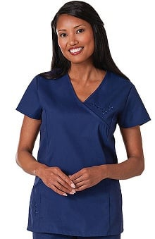 Fundamentals by White Swan Women's Embroidered Princess Solid Scrub Top