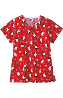Clearance WS Gear by White Swan Women's Shaped V-Neck Penguin Print Scrub Top