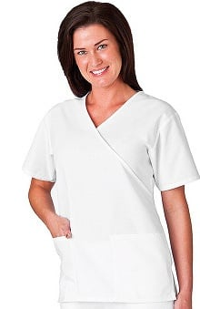 Clearance Fundamentals by White Swan Women's Mock Wrap V-Neck Solid Scrub Top
