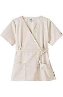 Clearance Fundamentals by White Swan Women's Mock Wrap Solid Scrub Top with Adjustable Belt