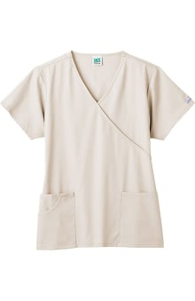 Clearance Fundamentals by White Swan Women's Mock Wrap 3 Pocket Solid Scrub Top