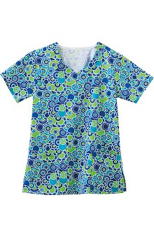 Clearance Fundamentals by White Swan Women's Overlap V-Neck Abstract Print Scrub Top