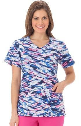 Bio Womens Overlap V-Neck Abstract Print Scrub Top