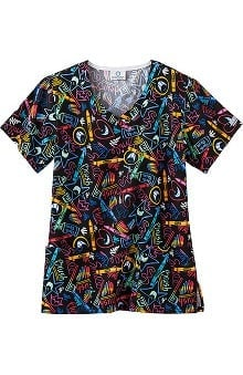 Clearance Fundamentals by White Swan Women's Overlap V-Neck Dental Print Scrub Top