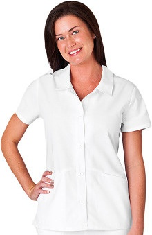 Clearance WS Gear by White Swan Women's Button Front Placket Collar Solid Scrub Top