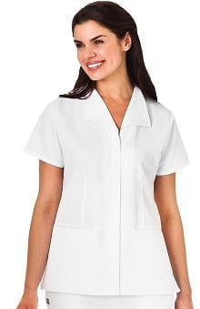 WS Gear by White Swan Women's Zip Front Wing Collar Solid Scrub Top