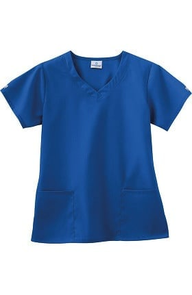 Fundamentals by White Swan Women's 3 Pocket V-Neck Solid Scrub Top