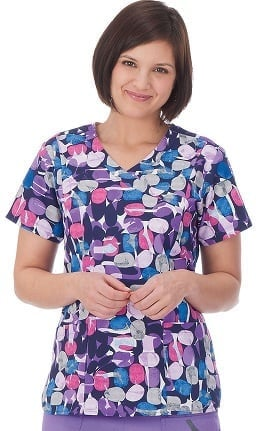 Bio Women's Mock Wrap Abstract Print Scrub Top