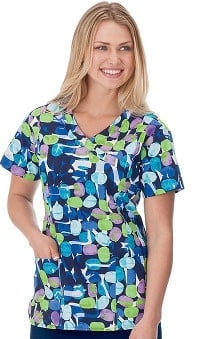 Bio Women's Mock Wrap Jelly Bean Navy Print Top