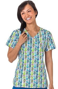 Bio Women's Mock Wrap Geometric Pop Art Blue Print Scrub Top