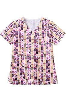 Bio Women's Mock Wrap Geometric Pop Art Purple Print Scrub Top