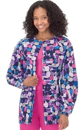 Bio Women's Jelly Bean Purple Print Warm Up Jacket