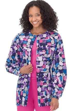 Clearance Bio Women's Jelly Bean Purple Print Warm Up Jacket