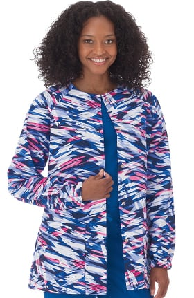 Bio Womens Abstract Print Warm Up Scrub Jacket