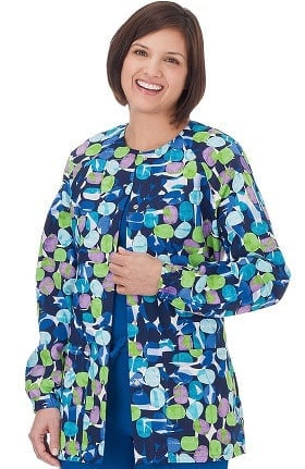 Bio Women's Jelly Bean Navy Print Warm Up Jacket
