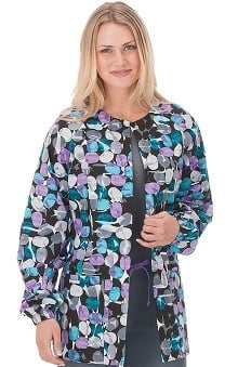 Clearance Bio Women's Jelly Bean Black Print Warm Up Jacket