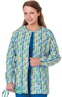 Clearance Bio Women's Geometric Pop Art Blue Print Warm Up Jacket