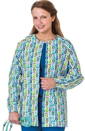 Clearance Bio Women's Geometric Pop Art Blue Print Warm Up Jacket