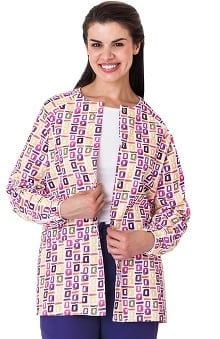 Bio Women's Geometric Pop Art Purple Print Warm Up Jacket