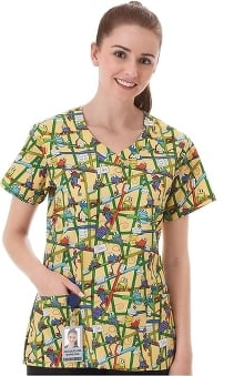 Fundamentals By White Swan Women's V-Neck Frog Print Scrub Top