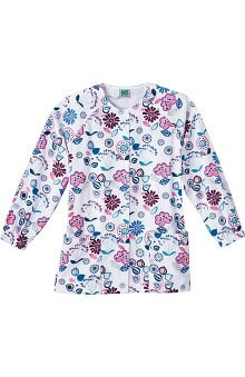 dental : Fundamentals by White Swan Women's Elastic Cuff Print Scrub Jacket
