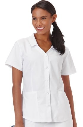 F3 Fundamentals by White Swan Women's Collared Button Front Solid Scrub Top