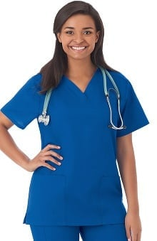 F3 Fundamentals By White Swan Women's 2 Pocket V-Neck Solid Scrub Top