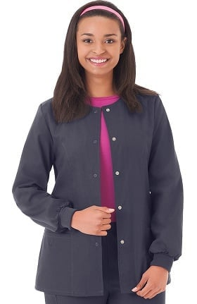 F3 Fundamentals by White Swan Women's Snap Front Warm Up Solid Scrub Jacket