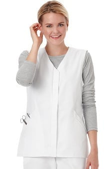 F3 Fundamentals by White Swan Women's Twill Button Front Solid Scrub Vest