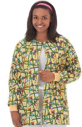 Clearance Bio Women's Warm Up Frog Print Scrub Jacket