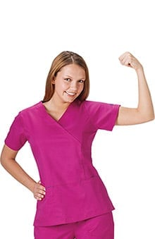 Bio Women's Mock Wrap Solid Scrub Top