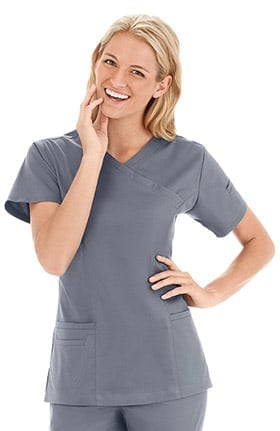 Bio Women's Modern Mock Wrap Solid Scrub Top