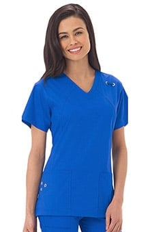 Bio Women's V-Neck Grommet Detail Solid Scrub Top