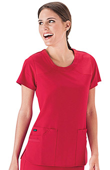 Clearance Classic Fit Collection by Jockey Women's 6 Pocket Jewel Neck Solid Scrub Top