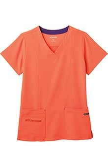 Clearance Modern Fit Collection by Jockey® Scrubs Women's Zipper Pocket V-Neck Solid Scrub Top