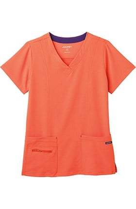 Clearance Modern Fit Collection by Jockey® Women's Zipper Pocket V-Neck Solid Scrub Top
