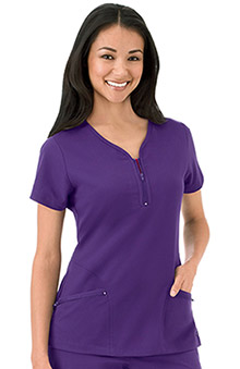 Modern Fit Collection by Jockey Women's Zipper Pocket Y-Neck Solid Scrub Top