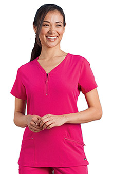 Clearance Modern Fit Collection by Jockey® Scrubs Women's Zipper Pocket Y-Neck Solid Scrub Top